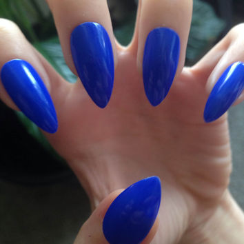 Royal Blue Vibrant Claws - Stiletto Full Cover False Nails, Fake Nails, Press on nails -Matte or Glossy- Handmade Set of 20