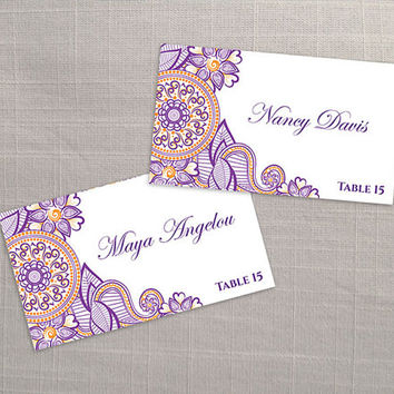DIY Printable Wedding Place Name Card Template | Editable MS Word file | 3.5 x 2 | Instant Download | Indian Arabic Henna Design