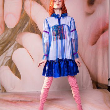 Mooly SS17 Blue See Through Pleated Dress