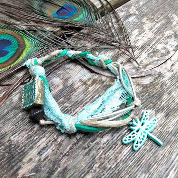Bracelet - Mixed Media - Suede Jewelry - Hemp Jewelry - Beaded Jewelry - Knotted Bracelet - Boho Style - Fashion Accessories - Blue - #354