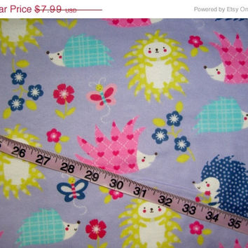 Quilt Flannel fabric with hedgehogs and flowers cotton quilting sewing material by the yard BTY 1yd crafts