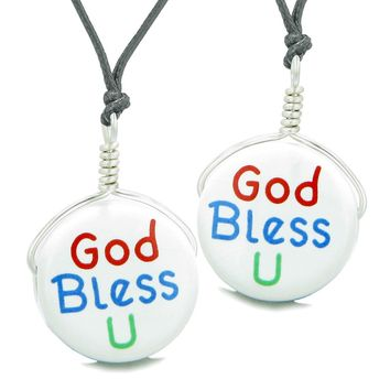 Love Couples or Best Friends Set Cute Ceramic God Bless You Lucky Charm Amulet Adjustable Necklaces
