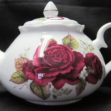6C Burgandy Rose English Bone China Teapot