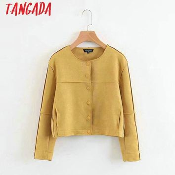Tangada Fashion Women Yellow Suede Leather Jackets Button O neck Long Sleeve Ladies Casual Brand Mujer Outwear XZ30