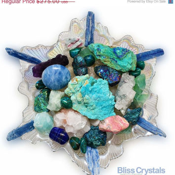 ON SALE ULTIMATE Relaxation Crystal Centerpiece Turkish Glass Plate Hemimorphite Tourmaline Aquamarine Lapis Chryscolla Chalcopyrite Rhodoch