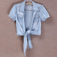 A 071358 Slim denim tie -sleeved jacket from cassie2013