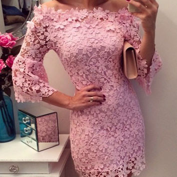 Pink Slash Collar Floral Pattern Lace Dress