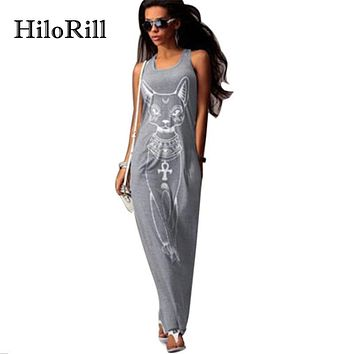 HiloRill Cat Print Long Maxi Dress Women 2017 Summer Boho Beach Bodycon Dress Elegant Evening Party Dresses Tunic Vestidos S-XL