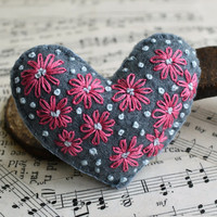 Hand Embroidered Heart Brooch with Pink and Blue Flowers
