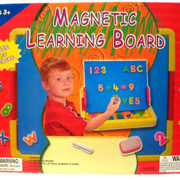 Magnetic Learning Board with 51 Letters and Numbers Chalk and Eraser