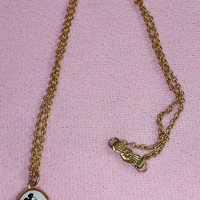 Vintage Disney Mickey Mouse Oval Charm 2 Picture Locket Pendant w Gold Tone Chain Necklace Jewelry