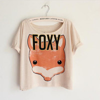Fox Print Short Tank Tops Blouse13
