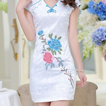 Streetstyle  Casual Band Collar Contrast Trim Floral Mini Bodycon Dress