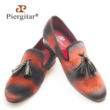 PIERGITAR Mix color velvet men handmade loafers with leather tassel