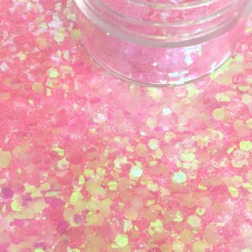 Iridescent Pink Mermaid Chunk Body and Face Festival Glitter (Large 15 Grams)