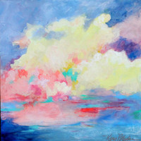 """Acrylic Painting, Original Sky, Cloud Formation, Colorful, Yellow, Blue, """"Clouds Moving In"""""""