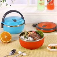Stainless Steel Thermal Insulated Bento Box Food Picnic Container with Handle
