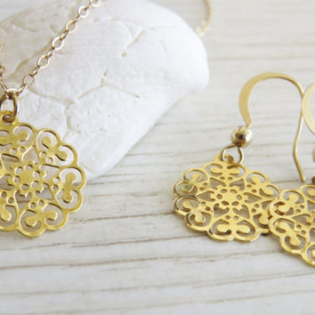 Jewelry set, Gold necklace set, Bridal necklace and earring set, Bridesmaid set, Filigree jewelry, Gold jewelry, Gift for her