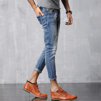 Men Skinny Pants Slim Cotton Jeans [6528730819]