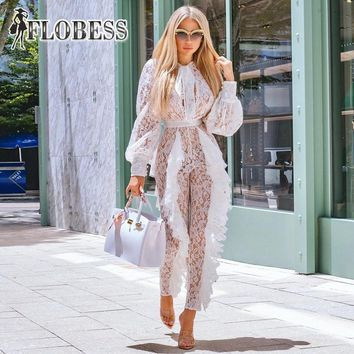Women Sexy See Through White Lace Jumpsuits Slim High Waist Casual Long Sleeve Romper Celebrity Club Wear