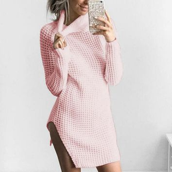 Womens Turtleneck Knitted Dress 2017 Autumn Winter Long Sleeve Bodycon Party Ladies Cocktail Mini Dress Solid Short vestidos