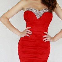 Red Strapless Ruched Mini Dress