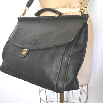 Coach Briefcase / laptop bag / black leather / UNISEX