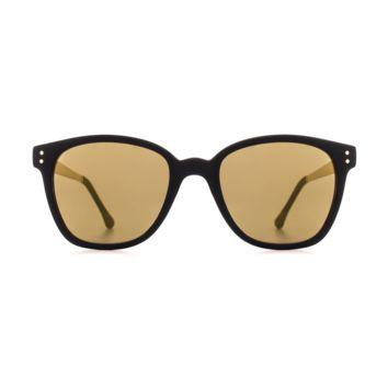 Komono - Renee Metal Series Black Gold Sunglasses / Polycarbonate Light Gold Mirror Lenses