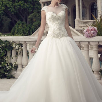 Casablanca Bridal 2147 Illlusion Neckline Beaded Ball Gown Wedding Dress