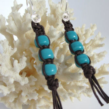 Boho Earrings Macrame Dangles of Brown Cotton Cord and Turquoise Glass Beads Knotted with Tassels Trending Retro Style Beaded Dangles Gift