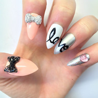 Doobys Stiletto - Love - 24 Hand Painted Stiletto Nails