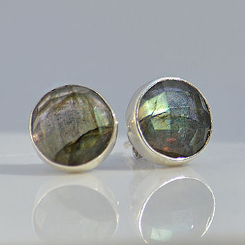 Faceted Round Labradorite  Sterling Silver bezel set Stud Post Earrings