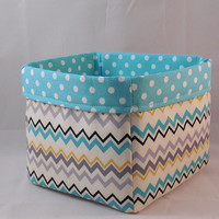 Cream and Aqua Chevron Fabric Basket For Storage Or Gift Giving