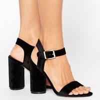 New Look Velvet Two Part Block Heeled Sandal at asos.com