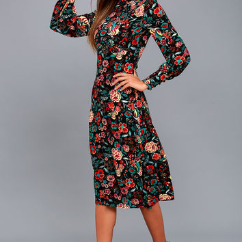 Retro Ready Black Floral Print Long Sleeve Midi Dress
