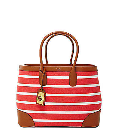 7953951bb Lauren Ralph Lauren Fairfield Striped Canvas City Tote - Black Stripe