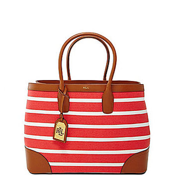 Lauren Ralph Lauren Fairfield Striped Canvas City Tote - Black Stripe