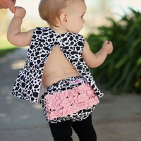 RuffleButts Infant Girls Cow Print Cotton Ruffled Diaper Cover