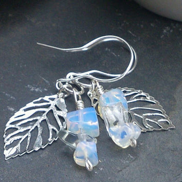 Dangle earrings of Silver Leaves, Moonstone Gemstones, Shimmering White Bridal Earrings, free shipping