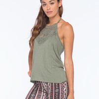 Full Tilt Crochet High Neck Womens Halter Top Olive  In Sizes