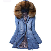 Winter Women Coat Cotton Fur Hooded Denim Jacket Pockets Coats = 1929686020