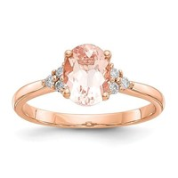 14k Rose Gold Oval Morganite & Diamond Accented Ring