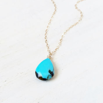 Sleeping Beauty Turquoise Pendant with Dainty, 14k Gold Filled Chain, Blue Turquoise Necklace, Smooth Turquoise Briolette