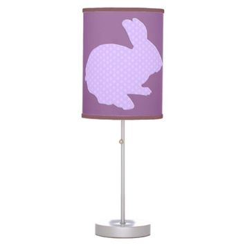 Purple Polka Dot Silhouette Easter Bunny Desk Lamp