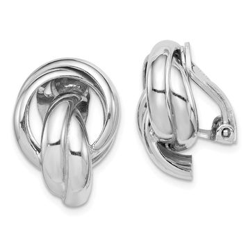 925 Sterling Silver Rhodium-plated Knot Design Clip Back Non-Pierced Earrings