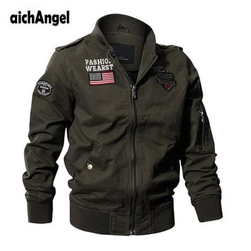 Trendy Military Tactical Jacket Men Autumn Jacket Coat US Flag Army Pilot Jackets Air Force Flight Cargo Coat AT_94_13