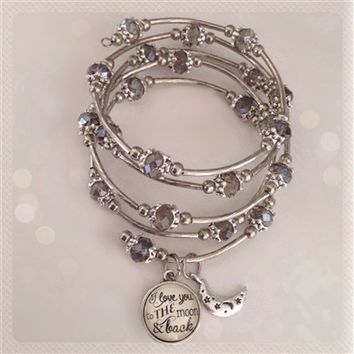 I love you to the moon and back Beaded wrap bracelet with moon charm