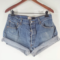 PLUS SIZE High Waisted Denim Shorts - Levi's 501 High Waist Jean Shorts - Size 36 or 14