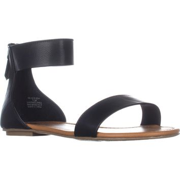 AR35 Keley Ankle Strap Flat Sandals, Black, 8 W US