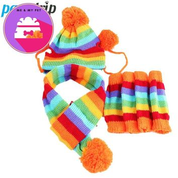 Winter Warm 3 Times Fashion Stripe Knitted Pet Dog Hat+Scarf+Socks Costume Clothing XS/S/M/L